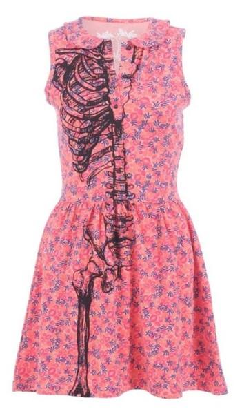 dress floral skeleton flowers pink blue purple pretty summer summer dress