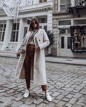 coat,white coat,loafers,high waisted pants,crossbody bag,white bag,white sweater,sunglasses