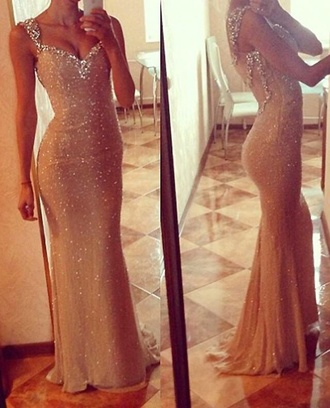 dress beige dress sequin dress long dress diamonds beautiful dresses beautiful long gown bodycon dress fishtail dress fashion fitted dress love sparkly dress