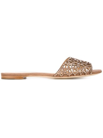 embellished sandals flat sandals brown shoes