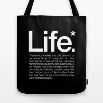 bag tote bag quote on it text print life inspirational