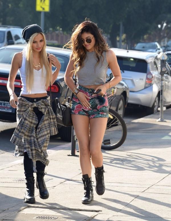 tank top kylie jenner shorts hat jewels bag nail polish shirt sunglasses shoes blouse