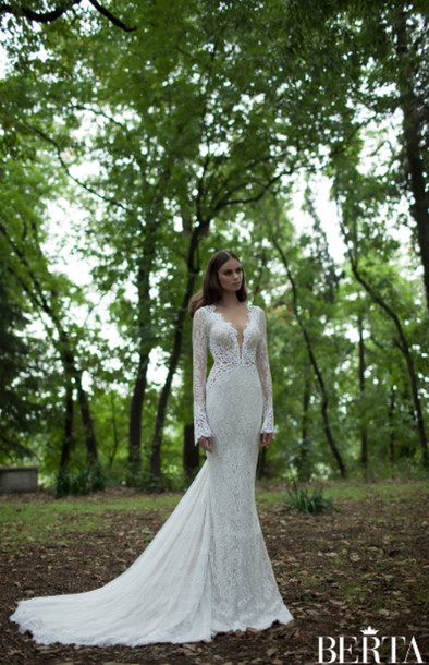wedding dress, berta weding dress, long sleeve wedding dress, v neck ...