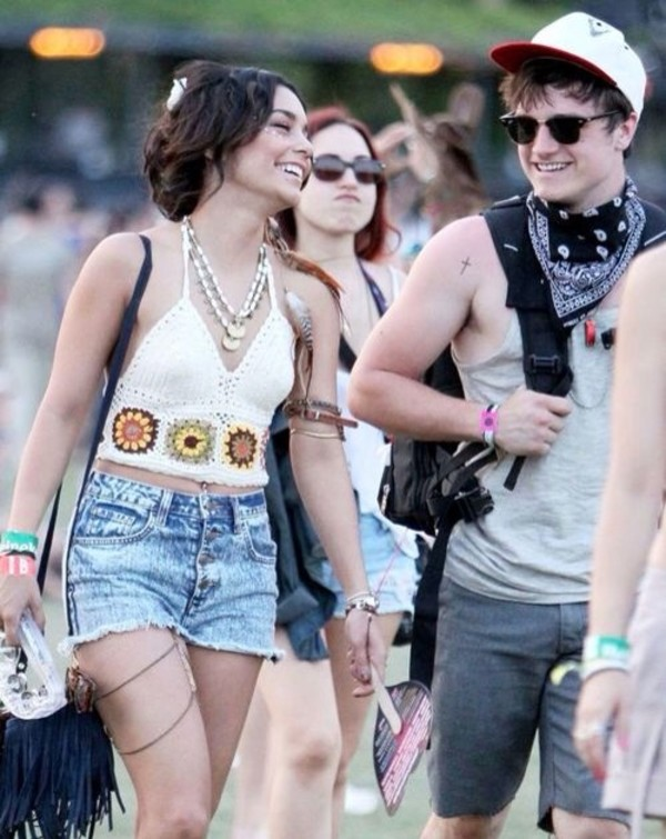 tank top vanessa hudgens coachella daisy top white halter neck