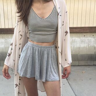 cardigan kimono crop tops crop tank tank top stripes striped crop top shorts gray grey black and white butterfly