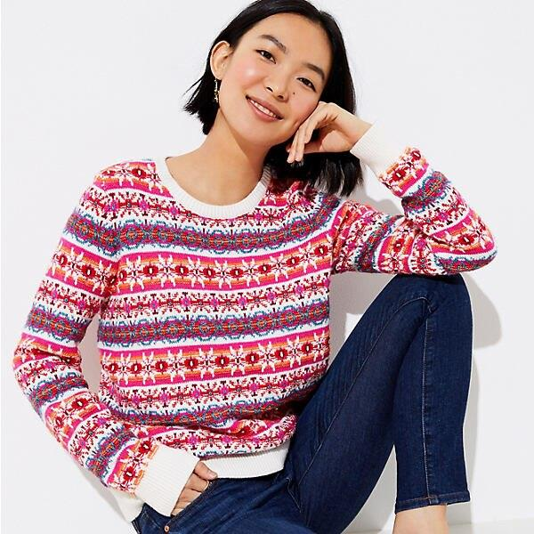 LOFT Petite Striped Fairisle Sweater