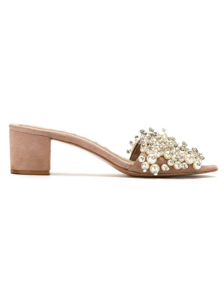 Andrea Bogosian open women embellished sandals leather nude shoes