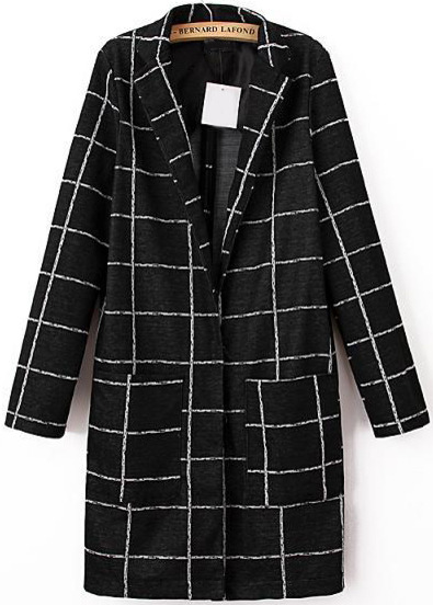 Black Long Sleeve Plaid Pockets Coat - Sheinside.com