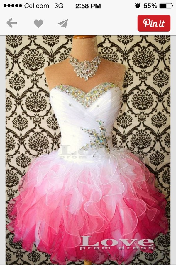 dress pink short ruffles jewels prom homecoming dance cute strapless