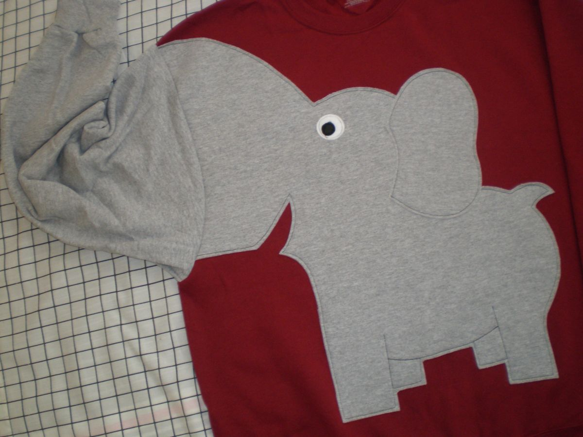 Mens ELEPHANT TRUNK SLEEVE sweatshirt RED Medium