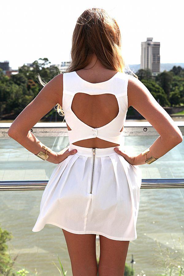 White Mini Dress - White Heart Cutout Dress with   UsTrendy