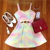 dress,multicolor,tie dye,colorful,rainbow,cut-out,cut-out dress,blue,pink,yellow,purple,bag,white,prom,acid wash,spaghetti strap,sweetheart neckline,open back,pastel,rainbows,white shoes,cute,shoes,skater dress,tie dye dress,pastel color,pastel goth,open back dresses,cute dress,pastel dress,light pink,pale,colorful dress,pretty dress!,soft grunge,low cut opened dress,wood,green,paddlepop