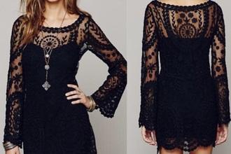 dress boho dress boho boho hippie dress fashion black dress lace top dress