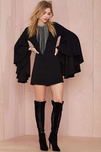 love maegan blogger knee high boots ruffle necklace fringes black dress