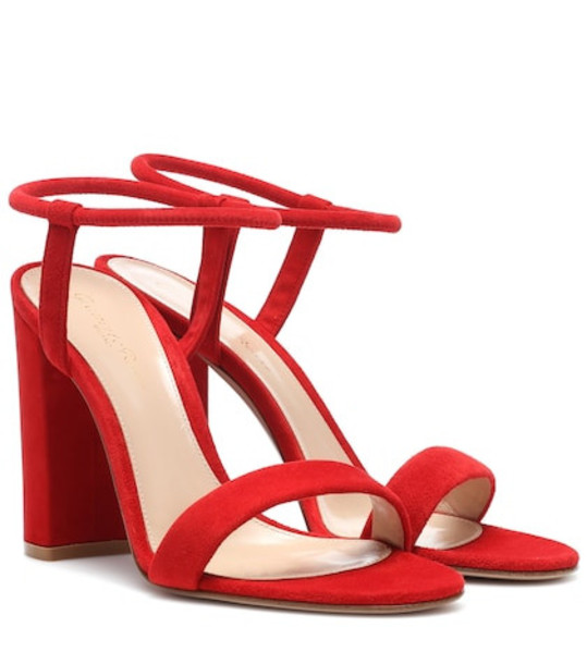 Gianvito Rossi Nikki suede sandals in red