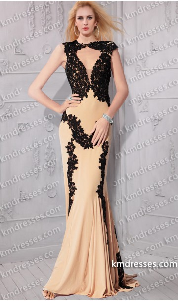 fabulous plunging V neck lace embellished Floor length evening dress