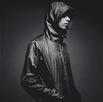 jacket coat windbreaker menswear mens jacket crocodile raincoat black