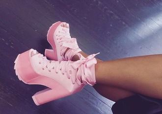 shoes pink lace up heels