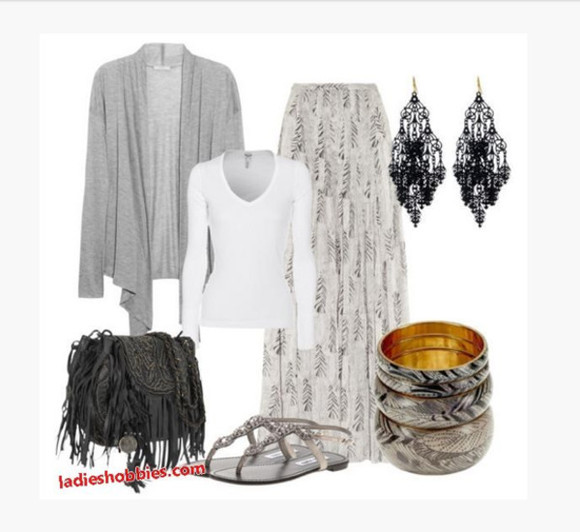 clothes shirt shoes white top skirt top long skirt maxi skirt pattern skirt cardigan grey cardigan purse bag sandals flat sandals bracelet earrings chandler earrings outfit fringe purse