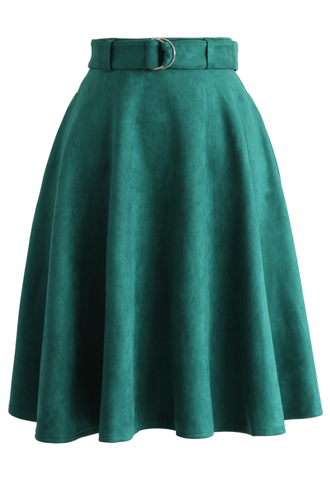 skirt belted suede a-line skirt in turquoise chicwish a-line belted suede