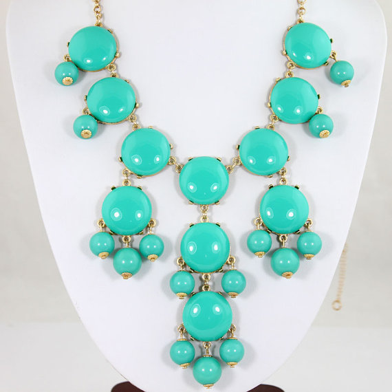 Turquoise  bubble statement necklace bubble  necklace by onlypearl
