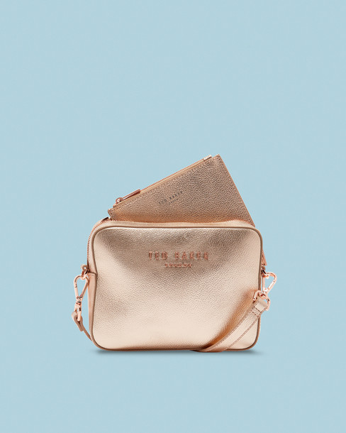 Ted Baker rose gold rose bag gold leather
