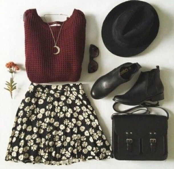 skirt sweater daisy print daisy skirt shoes jewels