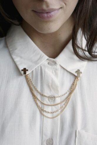 jewels collarchain collarpin gold collar cross gold chain