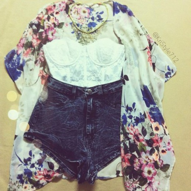 shorts blouse kimono floral