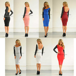 New womens ladies sexy backless long sleeve leather midi celeb bodycon dress | eBay