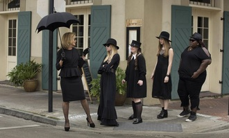 dress american horror story black dress black hat