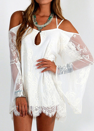 top lace off the shoulder transparent long sleeves see through white summer spring