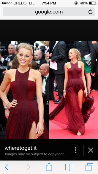 dress burgundy dress prom dress blake lively dress