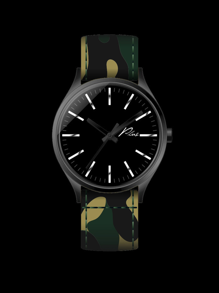 All Black / Camo I Plus Watches I Camouflage Print Nylon Watch