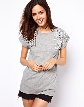ASOS | ASOS T-Shirt with Jewel Shoulder at ASOS