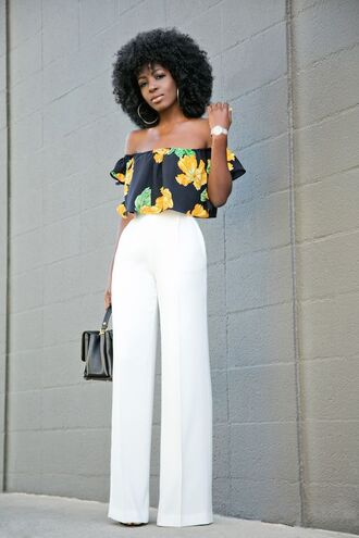 pants white pants wide-leg pants high waisted pants off the shoulder top off the shoulder top crop tops floral crop top bag black bag summer outfits
