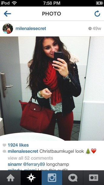 jeans burgundy red deep red skinny jeans bag jacket scarf shirt