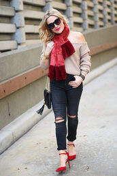 thehuntercollector,blogger,scarf,sweater,jeans,shoes,bag,fur scarf,beige sweater,shoulder bag,red heels,high heel pumps,winter outfits