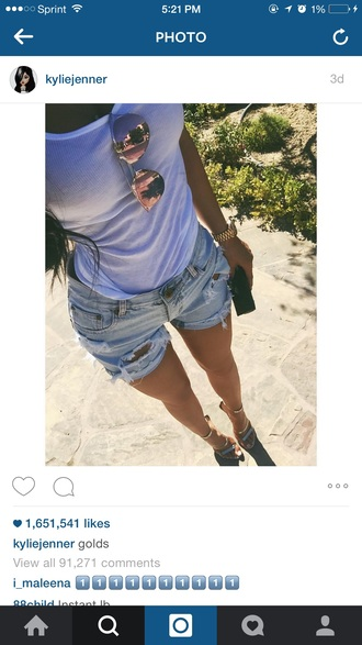kylie jenner white tank top sunglasses