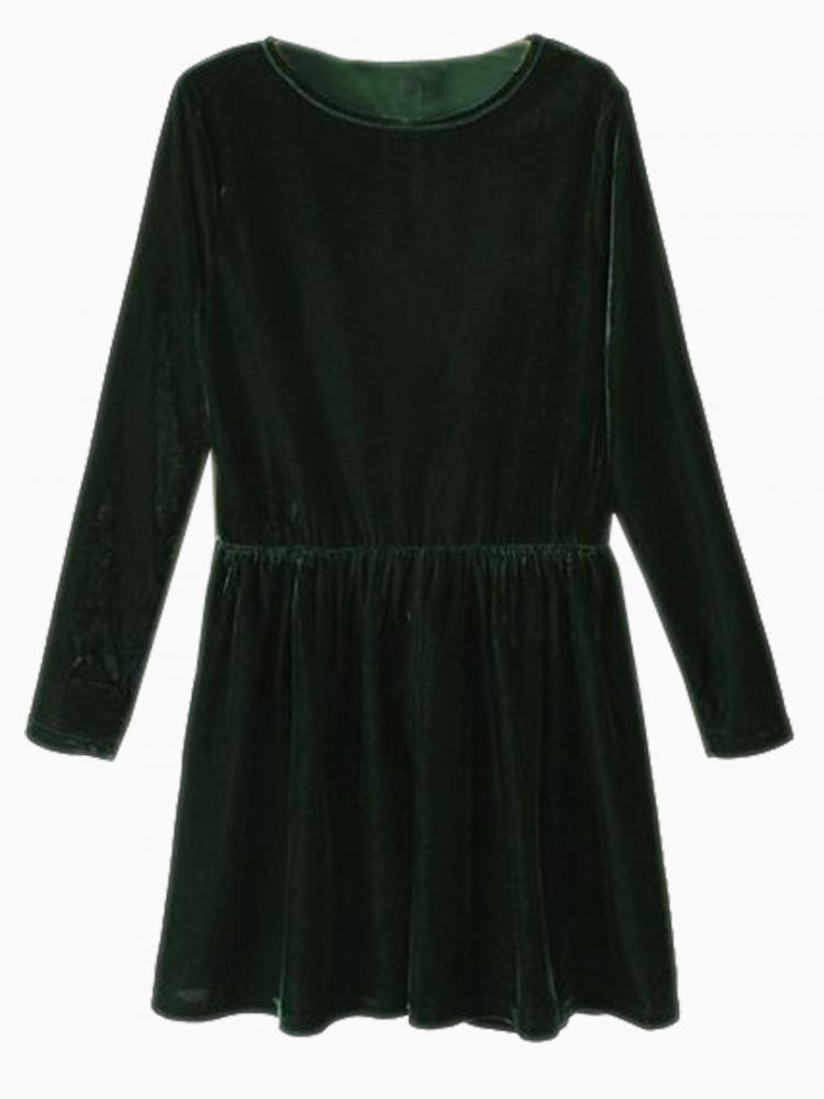 Green Velvet Skate Dress | Choies