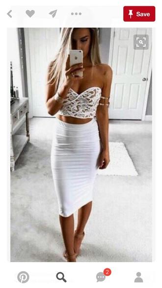 dress white dress bustier white skirt