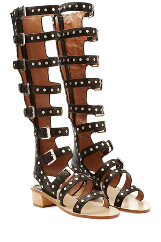 studded sandals leather black shoes