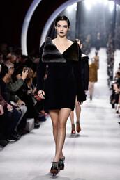 dress,coat,fur,christian dior,black dress,kendall jenner,shoes,runway,mini dress,paris fashion week 2016,fashion week 2016