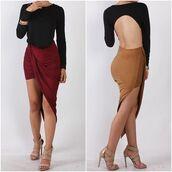 skirt,boutique beau monde,asymmetrical skirt,suede,suede skirt,high waisted,clubwear,sexy,sexy skirt,burgundy