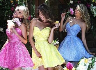 dress skater dress floral dress flowers pink dress pink yellow yellow dress light blue blue dress