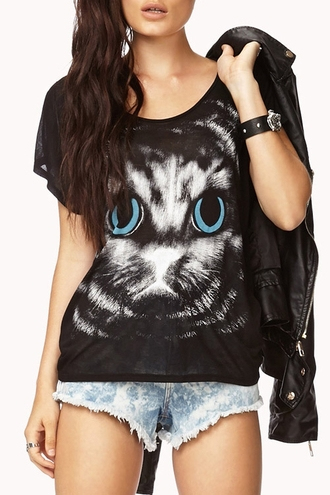 top cat print shirt grunge black top black jacket leather jacket leather denim shorts zaful cute casual goth hipster cats black black leather hipster alternative alternative rock