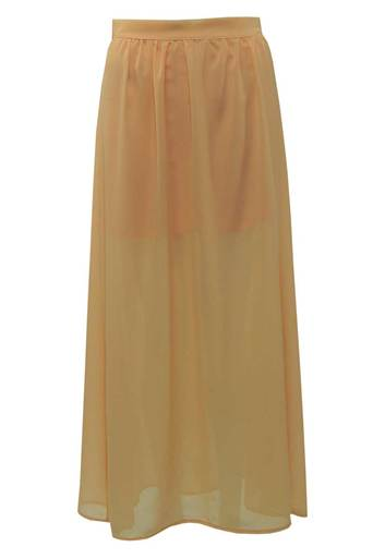 Ladies Shelby Chiffon Long Maxi Skirt in Peach | Pop Couture