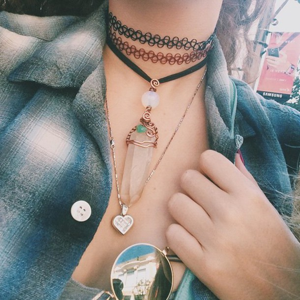jewels crystal crystal quartz necklace choker necklace flannel flannel shirt