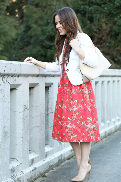 dress corilynn blogger floral dress purse dress jacket shoes jewels bag