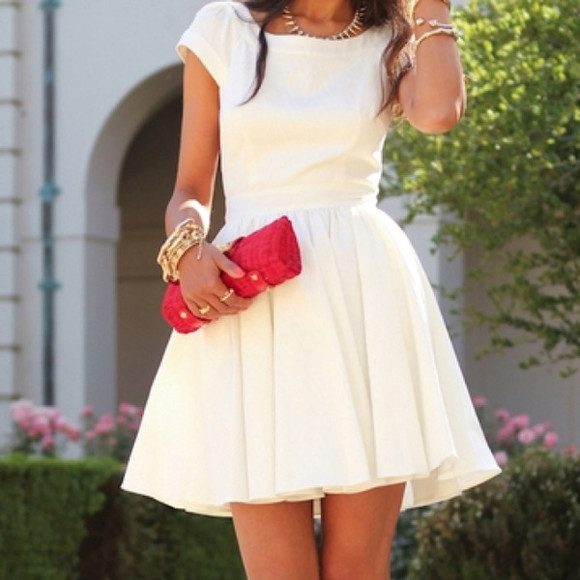 dress white white dress ivory dress ivory ladylike fit and flare cap sleeve